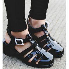Black Gladiator Jelly Sandals with Block Heels