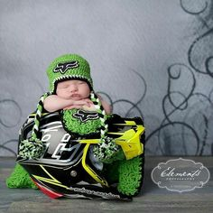 Kawasaki green fox racing boys crochet beanie newborn child and adult size hats $25-$30 hat & blanket combo $85
