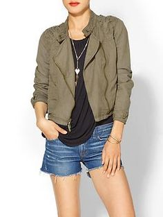I'm a sucker for a Moto jacket AND an Anorak/Utility jacket...combine the two!!??  I'm gaga!  Love this with a slouchy black T and cut off denim shorts- so hot!  Free People Cutwork Moto Jacket | Piperlime