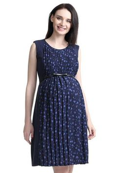 b7684e2710 vestidos maternos · Rayna Pleated Maternity   Nursing Dress (Navy) by Kimi    Kai Maternity Ventanas Negras