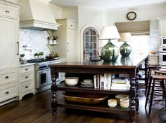 lamps in the kitchen-- amazing look.