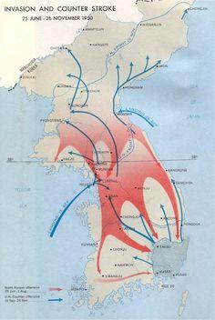 hier zie je een goed overzicht van noord en zuid Korea waartussen de oorlog was en hoe die eruit zien en hoe het ging.