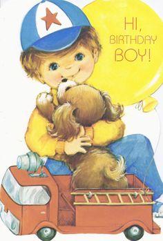 1960s Vintage Rust Craft Birthday Greeting Card BOY