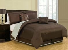 """10 Piece King Vorona Reversible Bed in a Bag Set Chocolate/Sage by KingLinen. $114.99. Change the look of your bedroom in a matter of seconds with this versatile reversible comforter set. Both comforter and shams reverse to a contrasting color. 2 stylish toss pillows complete the look. FeaturesSize: KingColor: Chocolate/Sage100% PolyesterMachine washableThis set includes:1 Comforter (101""""x86"""")2 Shams (20""""x36"""")1 Bedskirt(78""""x80""""+14"""")2 Decorative CushionsPlus 300 ..."""