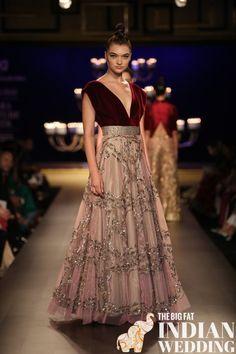 Manish Malhotra at India Couture Week 2014 - peach pink dress lehnga with deep red maroon v-neck blouse Indian Bridal Wear, Pakistani Bridal, Pakistani Dresses, Indian Gowns, Indian Attire, Indian Outfits, India Fashion, Fashion Week, Asian Fashion