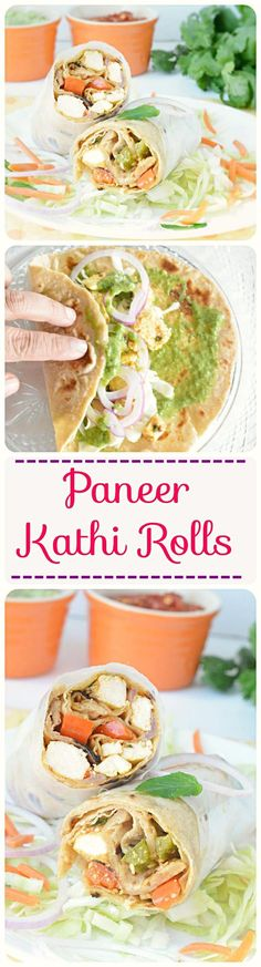 Freshly prepared Indian chapati stuffed with green chutney, lettuce and sauteed Yum and delicious Kolkata Specialty! Wrap Recipes, Veg Recipes, Indian Food Recipes, Vegetarian Recipes, Cooking Recipes, Healthy Recipes, Cooking Tips, Indian Appetizers, Indian Snacks