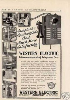 """Western Electric Ad Intercommunicat (1908).  """"Simple as a speakting tube"""""""