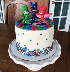 PJ Masks inspired birthday cake for a birthday party! Pj Masks Birthday Cake, Birthday Cake Kids Boys, Themed Birthday Cakes, Superhero Birthday Party, Boy Birthday Parties, 5th Birthday Ideas For Boys, Third Birthday, Birthday Cards, Pjmask Party