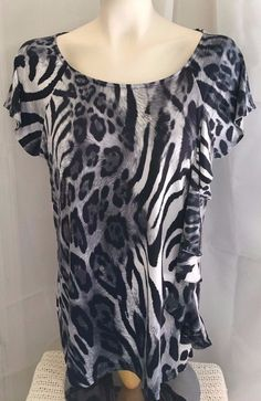 Marc Bouwer Gray Animal Print Short Sleeve Ruffled Top Stretch Blouse Size L #MarcBouwer #KnitTop #Casual