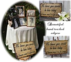 Wood Wedding Sign Memorial We know you would be Here Today if Heaven Wasn't so Far Away Rustic Country Passed Loved Ones Country barn style Floral Invitation, Floral Wedding Invitations, Purple Wedding, Trendy Wedding, Wedding Ideas, Country Barn Weddings, Rustic Weddings, Country Bridesmaid Dresses, Reception Signs