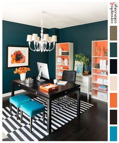 interior color palettes, colorful office, black and white striped rug, black desk, bright blue upholstered stools, orange accents, dark wood floors, dark blue-green walls, color schemes, color combinations.