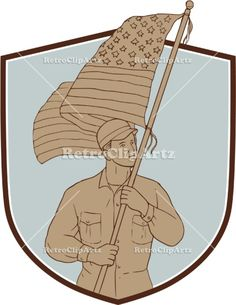 American Soldier Waving USA Flag Crest Drawing Vector Stock Illustration.   Drawing sketch style illustration of an american soldier serviceman waving holding usa flag looking to the side set inside shield crest on isolated background. #illustration #AmericanSoldierWavingUSAFlag