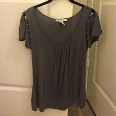 Gray shirt with adorable button sleeves Charlotte Russe medium gray shirt with adorable button sleeves. Made of 100% rayon. Charlotte Russe Tops Blouses