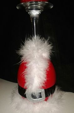 Hand painted wine glass Santa candle holder