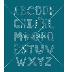 Hand drawn alphabet vector doodle letters - by Tatishdesign on VectorStock®