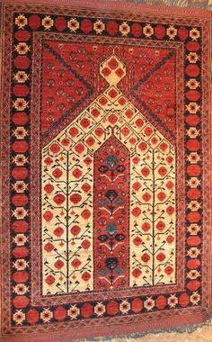 Ersari Turkmen nomadic prayer rug. Uzbekistan.