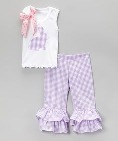 Lavender Bunny Tank & Ruffle Pants - Infant, Toddler & Girls