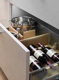 DIY Wine Rack Kitchen Drawer-16 Brilliant Kitchen Storage Solutions You Can Make Yourself
