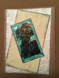 Abstract note card. Made with foil tape and distressed with alcohol inks and acrylic paint