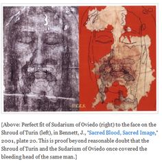 "[Above: Perfect fit of Sudarium of Oviedo (right) to the face on the Shroud of Turin (left), in Bennett, J., ""Sacred Blood, Sacred Image,"" 2001, plate 20. This is proof beyond reasonable doubt that the Shroud of Turin and the Sudarium of Oviedo once covered the bleeding head of the same man.]"