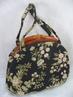 Vintage 50's Bakelite Handle Lewis Flowered purse