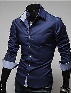 Masculino Camisa Social Casual Trabalho Tamanhos Grandes Simples Primavera Outono,Sólido Algodão Poliéster Colarinho Clássico Manga Longa de 4927483 2017 por R$21,32