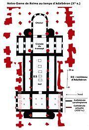 Cathedrale Notre-Dame de Reims (Adalberon: eveque de Reims en 976)- ARCHITECTURE CAROLINGIENNE, 3: Se développe ainsi l'architecture carolingienne. Le désir 1° de Charlemagne, qui a été impressionné par les splendeurs de Latran, est de rebâtir un empire semblable à l'empire romain et ce dernier brillait par son architecture très évoluée.
