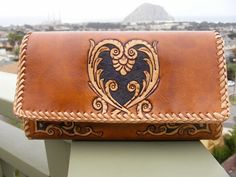 Wallet / Purse / Women's / Leather / Purse / Hand Tooled and Carved / Large / The  Heart Wallet / Clutch / Leather Purse