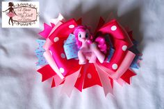 My Little pony Pinkie Pie Hair Bow  http://abowformydoll.storenvy.com/ Facebook:   http://www.facebook.com/pages/A-Bow-for-my-Doll-Tutus-by-Gloria-Chang/237381999629806