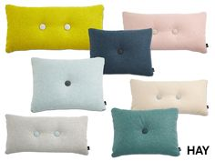HAY - NEW COLORS! Dot Melange pillows are made of the fabric Divina Melange, which is one of the most exclusive and internationally renowned furniture fabrics by Kvadrat. Divina Melange is a felt-like fabric, but with a heather look and the pillow comes in 11 delicious colors with contrasting colored button. Dot Melange is a stylish and decorative pillow series for the sofa or bed. #hay #dotpillow #pillow #designinterior #interior #kvadrat #danishdesign #designdelicatessen