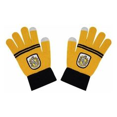 "Harry Potter Hufflepuff Screentouch ""Magic Touch"" Gloves ❤ liked on Polyvore featuring harry potter"