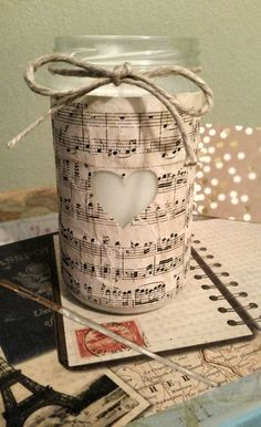 Music wrapped jar filled with soy candle  https://www.etsy.com/listing/238977751/music-wrapped-jar-with-heart-and-hemp