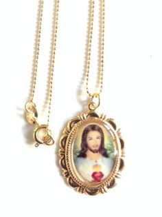 Sacred Heart of Jesus Medal Necklace sacred heart Jesus gold Oval pendant Cristian Jewelry Catholic gifts Religious Medals Catholic Jewelry
