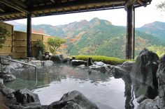 The cable car accessible high altitude open air bath with a fabu・・・