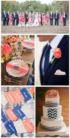 Navy blue & coral - wedding ideas http://www.theperfectpalette.com/2014/05/pretty-palette-navy-blue-and-coral.html