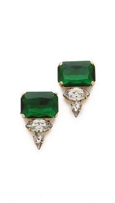 Emerald Earrings Loren Hope Sophia Studs Basket Pave Stud Earrings gold and diamond free form emerald studsEmerald Cut Earrings Emerald Earrings, Gemstone Earrings, Crystal Earrings, Drop Earrings, Crystal Jewelry, Noir Jewelry, Jewelry Accessories, Fine Jewelry, Hippie Jewelry