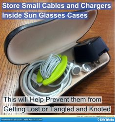 Travel - Store your Cables in your Sunglasses Case
