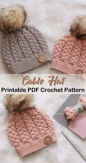Make this cable hat! winter hat crochet pattern - crocheted pattern pdf - amorec Make this cable hat! winter hat crochet pattern - crocheted pattern pdf - amorec… Always wanted to figure out how to kni. Crochet Baby Hat Patterns, Crochet Beanie Pattern, Knitting Patterns, Baby Beanie Crochet Pattern, Amigurumi Patterns, Crochet Hat Tutorial, Scarf Patterns, Crochet Instructions, Afghan Patterns