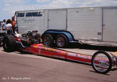 Top Fuel car of Jim Nicoll, 1971 NHRA Springnationals at Dallas in Nicoll's frame-severing clutch explosion at Indy against Don Prudhomme is the stuff of legend. Dragster Car, Top Fuel Dragster, Funny Car Drag Racing, Funny Cars, Vintage Race Car, Drag Cars, Car Humor, Automotive Design, The Good Old Days