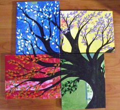 """4 Season Tree"" Original 4 Canvas  Painting. Starting at $ 30 on Tophatter.com!"