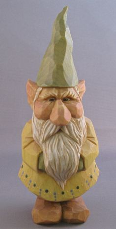 Grimolf, hand carved king of the gnomes. $125.00, via Etsy.