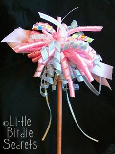 Little Birdie Secrets: DIY how to make a fairy princess ribbon wand Ribbon Wands, Ribbon Hair Bows, Ribbon Flower, Diy For Kids, Crafts For Kids, Fun Crafts, Shoebox Crafts, Holiday Crafts, Princess Wands