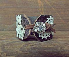 Leather Cuff Bracelet / Leather And Lace / Rhinestone / Leather Jewelry / Re Purposed Belt / Boho Cuff. $28.00, via Etsy.
