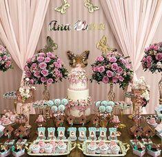 Garden Theme Dessert table and Decor Butterfly 1st Birthday, Butterfly Garden Party, Butterfly Birthday Party, 1st Birthday Party For Girls, Butterfly Baby Shower, Garden Birthday, Birthday Parties, Baby Girl Shower Themes, Girl Baby Shower Decorations
