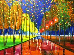 rain painting WARM NIGHT Mariana Stauffer original oil by malorcka, $449.00