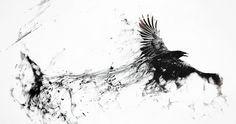 Raven Bird Flying Minimalism Smoke Art Abstract Black Gray BW WallpapersByte com Tatoo Art, Body Art Tattoos, Fox Tattoos, Phoenix Tattoos, Tree Tattoos, Tattoo Music, Deer Tattoo, Feather Tattoos, Tattoo Ink