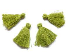 5 Pieces Tiny Olive Green Tassels - Cotton Tassels - PS008