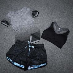 Women Sports Yoga Set - T-Shirt+Bra+Shorts