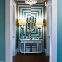 Gorgeous entry way. HGTV, how you get me. Via House of Turquoise: HGTV Smart Home 2013 House Of Turquoise, Murs Turquoise, Turquoise Walls, Teal Walls, Neutral Walls, White Walls, Design Websites, Blue Hallway, Striped Hallway