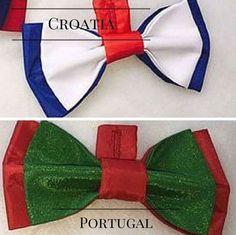 Croatia vs Portugal football fan bow ties handmade by Betolli.